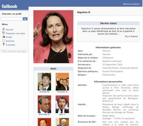 Failbook.fr, Le Facebook parodique de la vie politique française