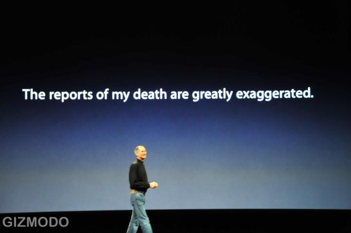 Jobs commente avec humour la fause rumeur de sa mort...